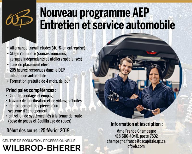 NOUVEAU PROGRAMME AEP – ENTRETIEN ET SERVICE AUTOMOBILE – FORMATION GRATUITE DURÉE 4 MOIS